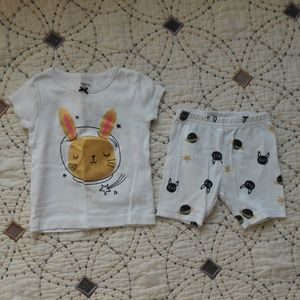 5/$10 Carter's 2 Piece Space Bunny Pajama Set